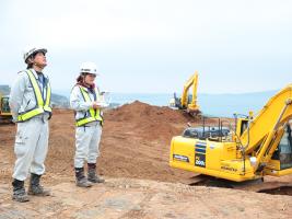南九州西回り自動車道の出水北インターの建設工事